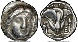 CARIAN ISLANDS. Rhodes. Ca. 340-305 BC. AR didrachm (17mm, 2h). NGC Choice Fine. Head of Helios facing, turned slightly right, hair parted in center a...