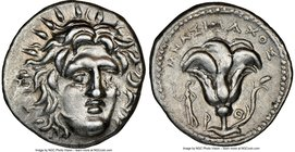 CARIAN ISLANDS. Rhodes. Ca. 250-205 BC. AR didrachm (21mm, 2h). NGC XF. Ca. 250-230 BC, Mnasimaxus, magistrate. Radiate head of Helios facing, turned ...