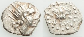 CARIAN ISLANDS. Rhodes. Ca. 185-150 BC. AR diobol (13mm, 0.81 gm, 12h). VF. Radiate head of Helios right / P-O, rose with bud to right; Isis crown to ...