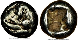 LYDIAN KINGDOM. Walwet (ca. 610-561 BC). EL 1/12th stater or hemihecte (8mm, 1.16 gm). NGC VG 4/5 - 4/5. Lydo-Milesian standard. Sardes mint. Head of ...