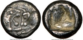 LYDIAN KINGDOM. Croesus or later (ca. 561-546 BC). AR 1/12 stater (8mm, 0.59 gm). NGC XF 5/5 - 3/5. Sardes. Confronted foreparts lion on left and bull...
