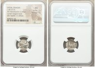 LYCIAN LEAGUE. Cragus. Ca. 48-20 BC. AR hemidrachm (15mm, 2.00 gm, 1h). NGC MS 5/5 - 5/5. Series 1. Laureate head of Apollo right; Λ-Y below / K-P, ci...