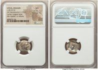 LYCIAN LEAGUE. Cragus. Ca. 48-20 BC. AR hemidrachm (17mm, 1.92 gm, 12h). NGC MS 5/5 - 4/5. Series 1. Laureate head of Apollo right; Λ-Y below / K-P, c...