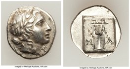 LYCIAN LEAGUE. Masicytes. Ca. 48-20 BC. AR hemidrachm (13mm, 2.02 gm, 12h). XF. Series 1. Laureate head of Apollo right; Λ-Y below / M-A, cithara (lyr...