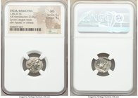 LYCIAN LEAGUE. Masicytes. Ca. 48-20 BC. AR hemidrachm (15mm, 2.06 gm, 1h). NGC MS 5/5 - 4/5. Series 1. Laureate head of Apollo right; Λ-Y below / M-A,...