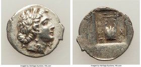 LYCIAN LEAGUE. Masicytes. Ca. 48-20 BC. AR hemidrachm (16mm, 2.11 gm, 1h). XF. Series 1. Laureate head of Apollo right; Λ-Y below / M-A, cithara (lyre...