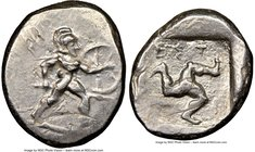 PAMPHYLIA. Aspendus. Ca. mid-5th century BC. AR stater (20mm, 11h). NGC XF, overstruck. Helmeted nude hoplite advancing right, shield on left arm, spe...