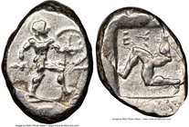 PAMPHYLIA. Aspendus. Ca. mid-5th century BC. AR stater (18mm, 7h). NGC Choice VF, overstruck. Helmeted nude hoplite warrior advancing right, shield in...