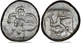 PAMPHYLIA. Aspendus. Ca. mid-5th century BC. AR stater (19mm, 5h). NGC VF. Helmeted nude hoplite warrior advancing right, shield in left hand, spear f...
