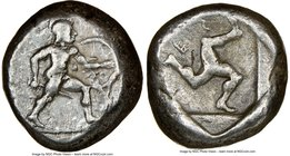 PAMPHYLIA. Aspendus. Ca. mid-5th century BC. AR stater (17mm, 9h). NGC VF. Helmeted nude hoplite advancing right, shield in left hand, spear forward i...