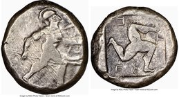 PAMPHYLIA. Aspendus. Ca. mid-5th century BC. AR stater (19mm, 5h). NGC Choice Fine. Helmeted nude hoplite advancing right, shield in left hand, spear ...
