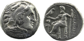 "Kings of Macedon. Kolophon. Alexander III ""the Great"" 336-323 BC. Drachm AR Head of Herakles right, wearing lion skin Zeus seated left on throne, hold..."