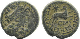 SYRIA. Seleucus and Pieria. Antioch. AE Laureate head of Zeus right Ram running right looking backward, star above ΓM below (= yr 43 of Actian era = A...
