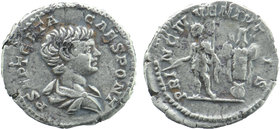 Geta, as Caesar, AR Denarius. Rome, 200-202.  Bareheaded and draped bust right. Geta standing left holding baton and sceptre; trophy to right  RIC 18;...