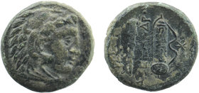 Kings of Macedon. Alexander III 'the Great' (336-323). Ae. Obv: Head of Herakles right, wearing lion's skin. Rev: Club and bow in bowcase. 5,29 gr. 16...