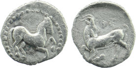 CILICIA, Kelenderis. Circa 425-400 BC. AR Obol Horse prancing right / Goat kneeling left, head reverted. SNG France 116; SNG von Aulock 5643 0,71 gr. ...