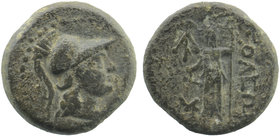 CILICIA. Soloi-Pompeiopolis. Ae (2nd-1st centuries BC).  Helmeted head of Athena right.  Rev: ΣΟΛΕΩΝ. Dionysos standing left, holding kantharos and th...