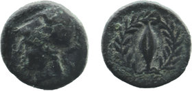 AEOLIS. Elaia. Ae (450-400 BC). Helmeted head of Athena left. Rev: Grain seed within olive wreath (no ethnic). BMC - ; SNG Copenhagen - Rare type . 1,...