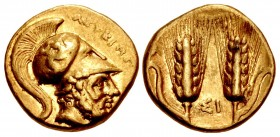 LUCANIA, Metapontion. temp. Pyrrhos of Epeiros. Circa 280-279 BC. AV Tetrobol (13mm, 2.82 g, 7h). Attic standard.