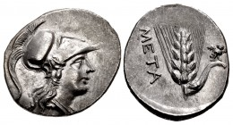 LUCANIA, Metapontion. Punic occupation. Circa 215-207 BC. AR Half Shekel – Drachm (19mm, 3.50 g, 11h).
