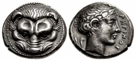 "BRUTTIUM, Rhegion. Circa 420-415/0 BC. AR Tetradrachm (25.5mm, 17.15 g, 12h). Dies by ""the Master of the Rhegium Apollo""."