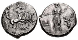 SICILY, Himera. Circa 409-407 BC. AR Tetradrachm (24.5mm, 17.52 g, 8h). Obverse die signed by the artist Mai-.