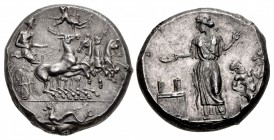 SICILY, Himera. Circa 409-407 BC. AR Tetradrachm (24.5mm, 17.49 g, 4h). Obverse die signed by the artist Mai-.