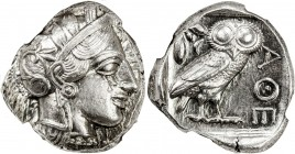 ATHENS: Anonymous, ca. 440-404 BC, AR tetradrachm (17.19g), S-2526, head of Athena right, wearing earring, necklace, and crested Attic helmet decorate...