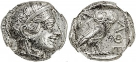 ATHENS: Anonymous, ca. 440-404 BC, AR tetradrachm (17.11g), S-2526, head of Athena right, wearing earring, necklace, and crested Attic helmet decorate...