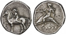 TARENTUM: AR nomos (7.87g), Vlasto 414; SNG ANS 914-5, struck 385-380 BC, nude youth on horse trotting left, leaning forward to crown horse with right...