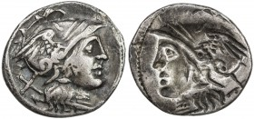 ROMAN REPUBLIC: Anonymous, ca. 2nd century BC, AR denarius (3.82g), Rome, helmeted head of Roma right, X (mark of value) // brockage of obverse, Fine ...