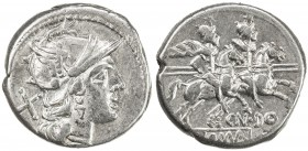 ROMAN REPUBLIC: Cn. Domitius Ahenobarbus, AR denarius (4.06g), Rome, Crawford-147/1; Sydenham-349, struck 189-180 BC, helmeted head of Roma right, X (...