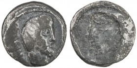 ROMAN REPUBLIC: L. Titurius L.f. Sabinus, 89 BC, AR denarius, Rome, Crawford-344, bare and bearded head of Sabine king Tatius right, SABIN // brockage...