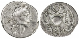 ROMAN REPUBLIC: Faustus Cornelius Sulla, AR denarius (3.22g), Rome, Crawford-426/4b; Sydenham-883, struck 56 BC, head of Hercules right, wearing lion ...