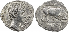 ROMAN EMPIRE: Augustus, 27 BC - 14 AD, AR denarius (3.59g), Lugdunum, RIC-167a; RSC-137, struck 15-13 BC, bare head right, AVGVSTVS DIVI F // bull but...