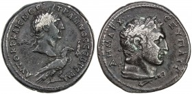 ROMAN EMPIRE: Trajan, 98-117 AD, AR tetradrachm (14.27g), Antioch, laureate head of Trajan right, above an eagle standing right // laureate bust of Me...