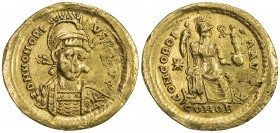 ROMAN EMPIRE: Honorius, 393-423 AD, AV solidus (4.27g), S-20902, helmeted & cuirassed bust // CONCORDIA AVG, emperor seated, holding scepter & Victory...