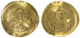 BYZANTINE EMPIRE: Constantine IX Monomachus, 1042-1055, AV histamenon (4.13g), S-1830, bust of Christ // emperor's bust, wearing crown and loros, hold...