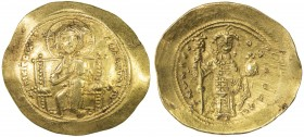 BYZANTINE EMPIRE: Constantine X Ducas, 1059-1067, AV histamenon (4.36g), S-1847, Christ seated on throne with upright arms // emperor standing, holdin...