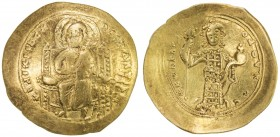 BYZANTINE EMPIRE: Constantine X Ducas, 1059-1067, AV histemenon (4.33g), S-1847, Christ seated on throne with upright arms // emperor standing, holdin...