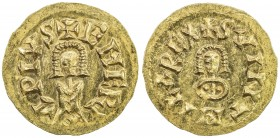VISIGOTHS IN SPAIN: Swinthila, 621-631, AV tremissis (1.44g), Emerita (Mérida), SVINTHILA REX, facing bust in the center // EMERITA PIVS, standing fig...
