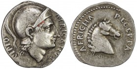 PADUAN & LATER IMITATIONS: ROMAN REPUBLIC: AR denarius (3.91g), Crawford-, fantasy, helmeted head right, SCIPIO / AFRICANVS // horse head right, AFRIC...