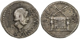 PADUAN & LATER IMITATIONS: ROMAN IMPERATORIAL: AR quinarius (2.31g), Crawford-, unpublished cast fantasy of Lucius Antonius, whose coinage always feat...