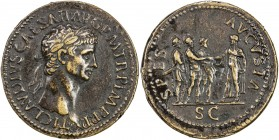 "PADUAN & LATER IMITATIONS: ROMAN EMPIRE: Claudius, 41-55 AD, AE cast ""sestertius"" (16.84g), Lawrence 15; Klawans-4, Paduan medal after Giovanni Cavino..."