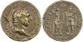 "PADUAN & LATER IMITATIONS: ROMAN EMPIRE: Vitellius, 69 AD, AE cast ""sestertius"" (21.35g), Lawrence-27; Klawans-1, Paduan medal after Giovanni Cavino, ..."