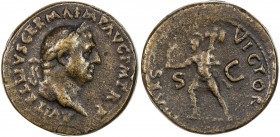"PADUAN & LATER IMITATIONS: ROMAN EMPIRE: Vitellius, 69 AD, AE cast ""sestertius"" (36.14g), Lawrence-28 var, 19th century imitation of Vitellius Paduan ..."