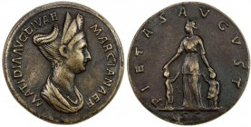 "PADUAN & LATER IMITATIONS: ROMAN EMPIRE: Matidia, AE cast ""sestertius"" (27.28g), Lawrence-; Klawans-, unpublished imitation of sestertius of Matidia (..."