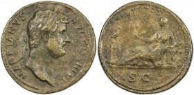 "PADUAN & LATER IMITATIONS: ROMAN EMPIRE: Hadrian, 117-138 AD, AE cast ""sestertius"" (21.91g), Lawrence-; Klawans-, unpublished imitation of sestertius ..."