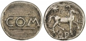 "PADUAN & LATER IMITATIONS: ATREBATES: Verica, 10-40 AD, ""AR stater"" (4.59g), cf. BMC 1146-58 & Mack 121, unpublished imitation of ""Warrior Rex""-type g..."