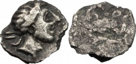 Greek Italy. Etruria, Populonia. AR 2 1/2 Units, 3rd century BC. D/ Young male head right; behind, IIC. R/ Plain. Vecchi EC 1, 96. HN Italy 175. NAC 7...